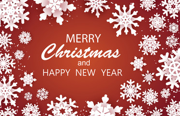 Merry Christmas Happy and  New Year Greetings card. White snow flake. . Winter snowflakes background. Space for text. Holidays. Red background. Vector eps 10
