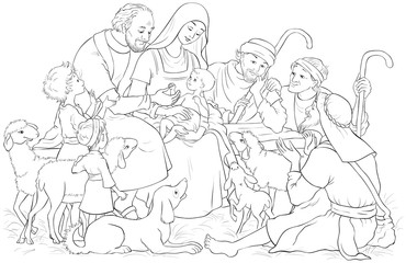 Christmas Nativity Scene with Holy Family (baby Jesus, Mary, Joseph) and shepherds Coloring Page