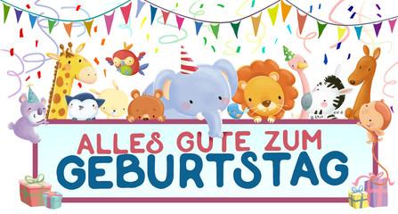 felicitacion de cumpleaños con animales