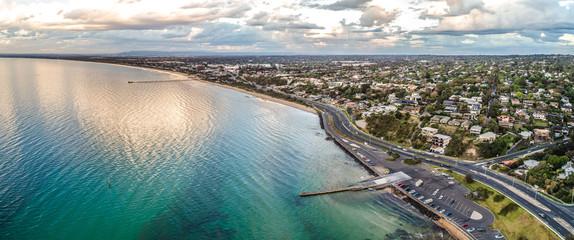 Wide aerial panorama of Frankston foreshore in Melbourne, Australia
