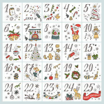 Christmas advent calendar. Hand Drawn Doodle Christmas characters and decorations. Holiday Set
