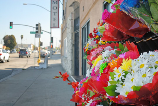 A bouquet of flowers outside of a shop on El Segundo Blvd in Compton California.