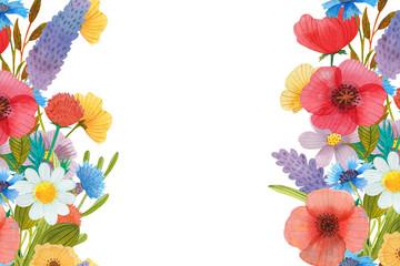 wild flower wreath watercolor illustration art composition
