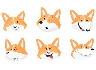 Set of six emotional faces of corgi dog.