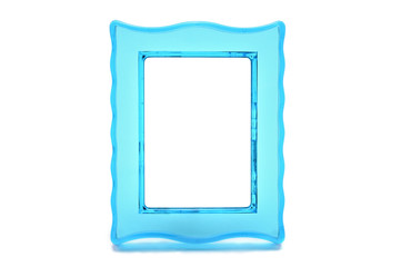 Vintage transparent turquoise color photo frame on an isolated white background.