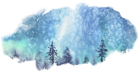 Milky Way stars over the forest. Watercolor stains.