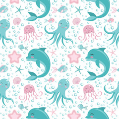Cute seamless pattern with sea animals. Octopus, dolphin, jellyfish, shell, fish starfish Undersea world
