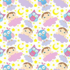 seamless pattern with cute sleeping owls, baby, moon, stars and clouds. Sweet dreams background. Vector illustration.