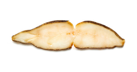 Slice of cold smoked halibut isolated on white background.