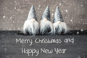 Gnomes, Cement, Snowflakes, Merry Christmas And Happy New Year