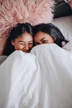 Girls having fun during a sleepover