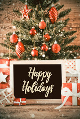 Vertical Tree, Christmas Gifts, Calligraphy Happy Holidays, Snowflakes