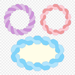 Set. Frame made of woven rope. Vector elements on isolated transparent background.