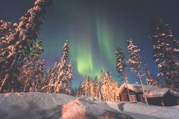 Beautiful night picture of massive multicolored green vibrant Northern Lights, Aurora Borealis, Aurora Polaris in the night sky over winter Lapland landscape, Finland, Scandinavia