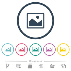 Single picture flat color icons in round outlines