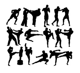 Muay Thai (Thai Boxing) vector silhouettes, art vector design