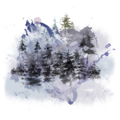 Scenic Forest Landscape with Snowflakes and Watercolor Splashes.  Textured Landscape Scenery for Print,  Card, Decoration, Poster, Invitation etc.