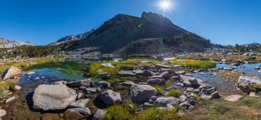Images of lakes on the John Muir Trail