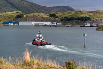 Tug Boat Entering the Port at Dutch Harbor Alaska