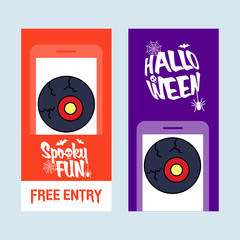 Happy Halloween invitation design with eye ball vector