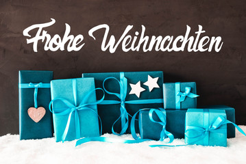 Turquoise Gifts, Calligraphy Frohe Weihnachten Means Merry Christmas