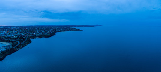 Aerial panoramic landscape of Mornington peninsula coastline at dawn