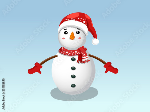acc60ca11aa8b Cute Funny Snowman isolated on blue background. Merry Christmas and happy  new year. decorative