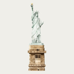 The Statue of Liberty watercolor illustration
