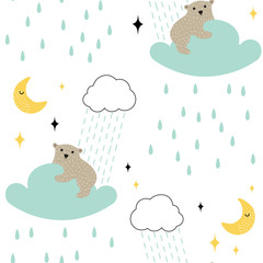 Seamless childish pattern with cute bear on the rainy cloud. Hand drawn vector illustration in scandinavian style. Creative kids texture for fabric, textile, apparel.