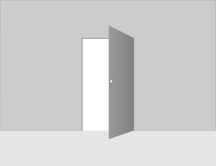 A gray open door with wall and floor background vector illustration