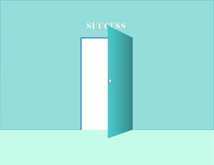 A blue open door of success with wall and floor vector illustration