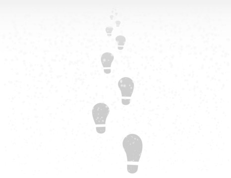 Footsteps of one person in winter season with snowflakes to the success or end of the path vector illustration