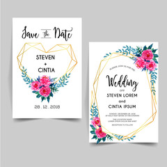 lovely geometric Watercolor floral wedding invitation
