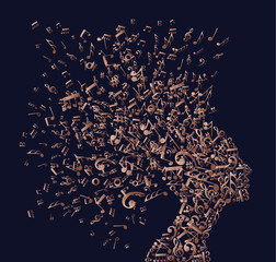 Copper woman head with music notes concept
