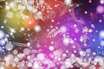 Christmas decorations on bokeh light background