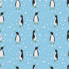 Seamless pattern of pinguins. Cartoon vector illustration