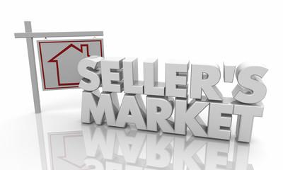 Sellers Market Home House For Sale Sign 3d Illustration