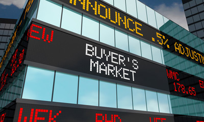 Buyers Market Stock Low Prices Ticker Time to Invest 3d Illustration