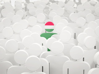 Man with flag of hungary in a crowd