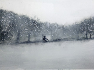 watercolor landscape man walking through the forest in the snow storm. traditional oriental. asia art style