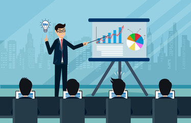 Businessmen are presenting a report infographics on the office chart board. training concept Vector illustration