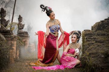 Asian show girl mask dance.