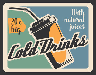 Cold drink in paper cup, retro vector banner