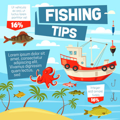 Fishery and fishing from boat, vector