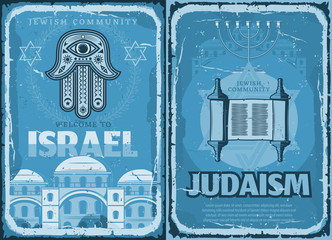 Israel and Judaism religion retro travel posters