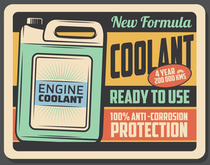 Engine coolant retro poster, car maintenance