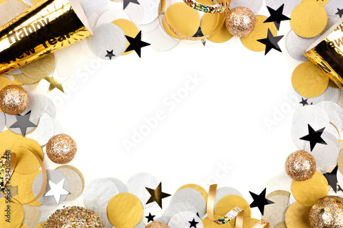 New Years Eve Frame Of Confetti And Decor Isolated On A White