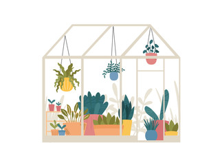 Greenhouse with potted and hanging garden plants vector illustration, cute Scandinavian Hygge style.Glass green house seasonal greeting card.Conservatory with growing plants in pots and planters