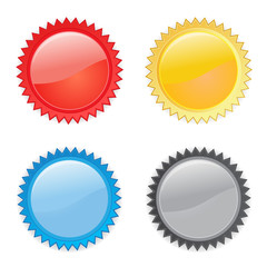 4 starburst, bursts / labels in red, yellow, blue and black flat vector icons on white background