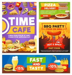 Fast food meals, bistro restaurant menu